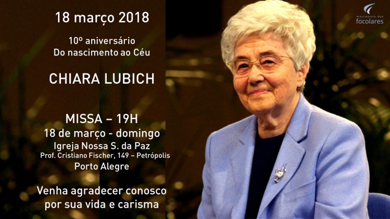#10ChiaraLubich | Em Porto Alegre, homenagem será na Igreja N.S. da Paz