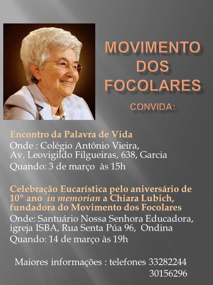 #10ChiaraLubich | Bahia: celebração eucarística lembrará Chiara Lubich