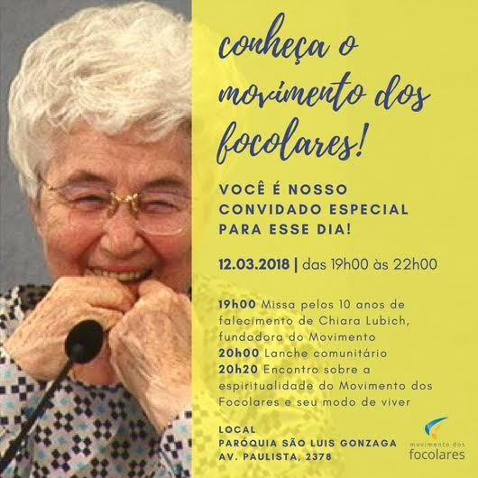 "#10ChiaraLubich | Em São Paulo, homenagem a Chiara será feita na ""Segunda na Paulista"""