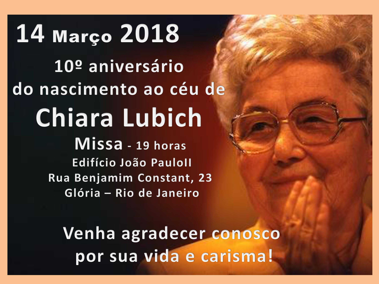 #10ChiaraLubich | Rio de Janeiro convida para missa em homenagem à Chiara Lubich