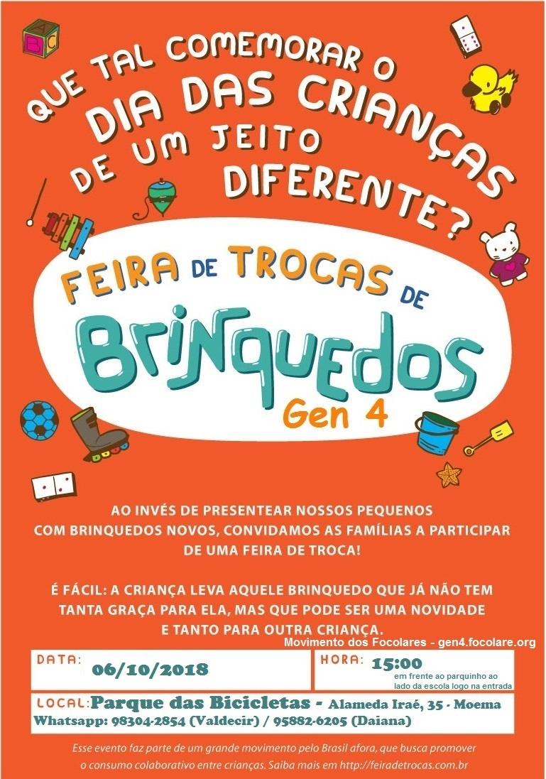 Dia das Crianças com feira de troca de brinquedos em São Paulo